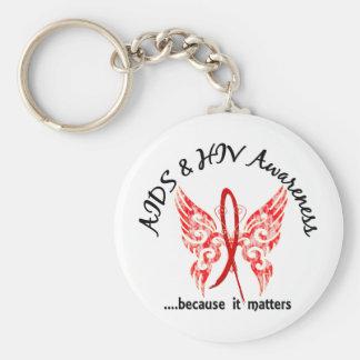 SIDA de la mariposa 6 1 del tatuaje del Grunge Llaveros Personalizados