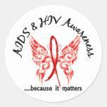 SIDA de la mariposa 6,1 del tatuaje del Grunge Etiquetas Redondas