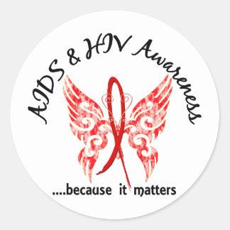 SIDA de la mariposa 6,1 del tatuaje del Grunge Pegatina Redonda