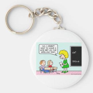 side bet spelling test school teacher basic round button keychain