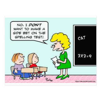 side bet spelling test school teacher postcard