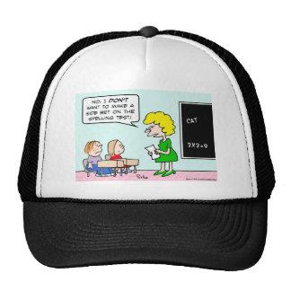 side bet spelling test school teacher trucker hat