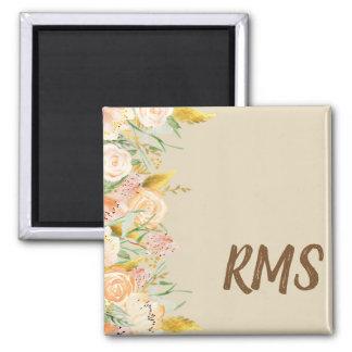 Side Border Floral Monogram Magnet