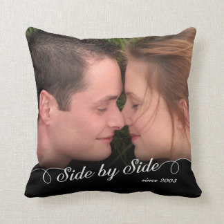 Side by Side Custom Photo/Date Throw Pillow
