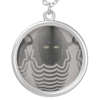 Side by Side Double Shadowed Devil Face-3D painti Round Pendant Necklace