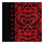 """Side Masquerade Mask Halloween Red Invitation 5.25"""" Square Invitation Card"""