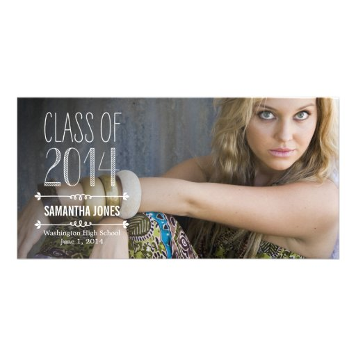 Side Overlay Graduation Announcement Customized Photo Card