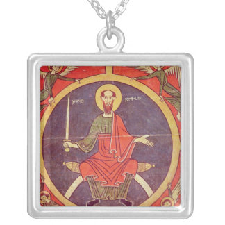 Side panel from an altarpiece silver plated necklace