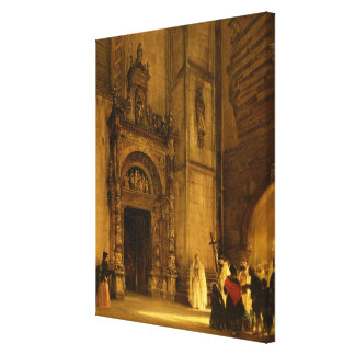 Side portal of Como Cathedral, 1850 Canvas Print
