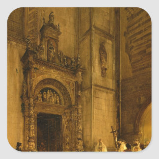 Side portal of Como Cathedral, 1850 Square Sticker