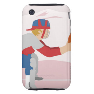 Side profile of a baseball player iPhone 3 tough cover