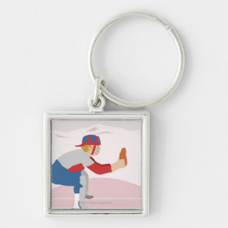 Side profile of a baseball player keychain
