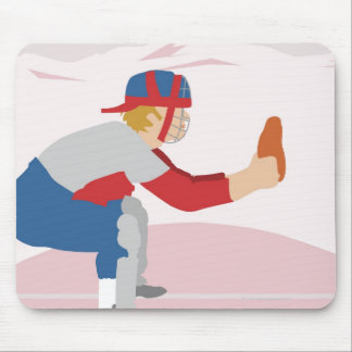 Side profile of a baseball player mouse pad