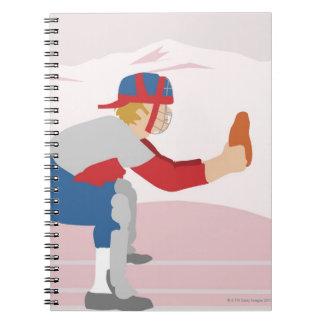 Side profile of a baseball player notebooks