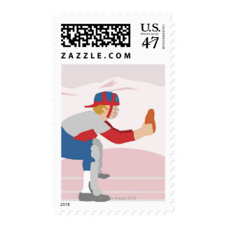 Side profile of a baseball player postage