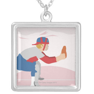 Side profile of a baseball player silver plated necklace