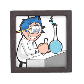 Side profile of a boy sitting in a chemistry gift box