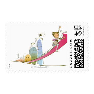 Side profile of a businessman sitting on an postage stamps