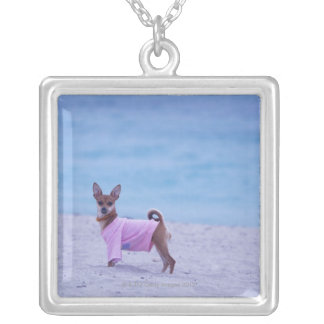 Side profile of a dog standing on the beach, square pendant necklace