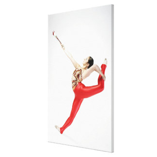 Side profile of a female gymnast practicing canvas print