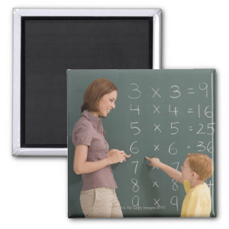 Side profile of a female teacher teaching her 2 inch square magnet