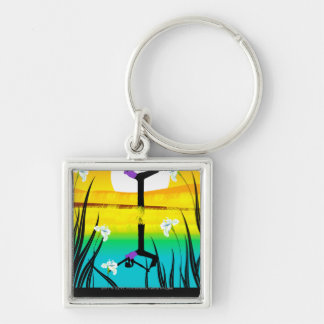 Side profile of a woman practicing yoga keychain