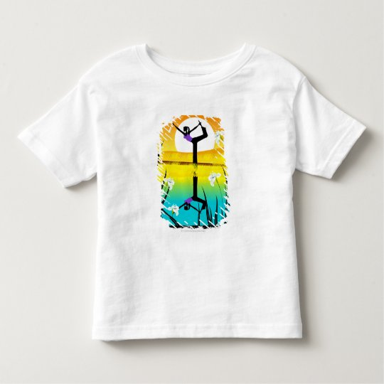 Side profile of a woman practicing yoga toddler t-shirt