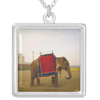 Side profile of an elephant, Taj Mahal, India Square Pendant Necklace
