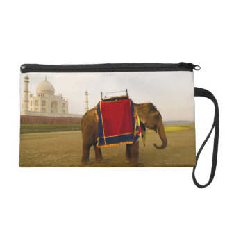 Side profile of an elephant, Taj Mahal, India Wristlet Purse