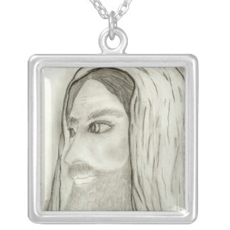 side profile of jesus silver plated necklace