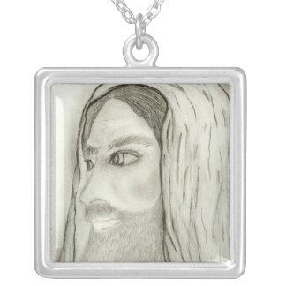 side profile of jesus square pendant necklace
