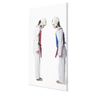 Side profile of two taekwondo players bowing canvas prints