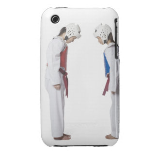 Side profile of two taekwondo players bowing iPhone 3 case