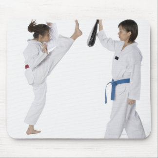 Side profile of two young women practicing mouse pad