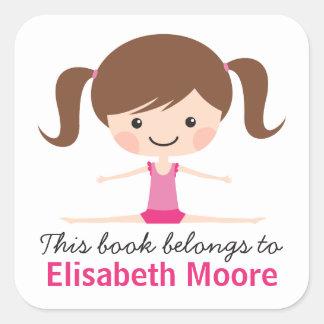 Side split gymnast girl cartoon bookplate book