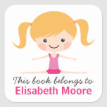 Side split gymnast girl cartoon bookplate book sticker