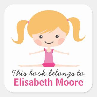 Side split gymnast girl cartoon bookplate book square sticker