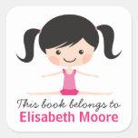 Side split gymnast girl cartoon bookplate book square stickers