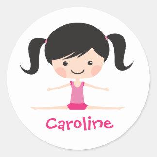 Side split gymnast girl cartoon custom name classic round sticker