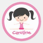 Side split gymnast girl cartoon custom name round stickers