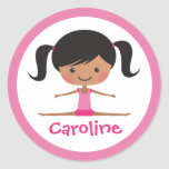 Side split gymnast girl cartoon custom name sticker