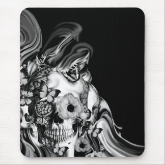 Side step, psychedelic smoke skull mouse pad