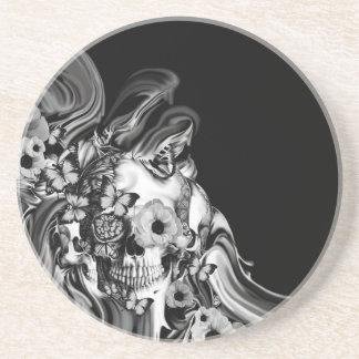 Side step, psychedelic smoke skull sandstone coaster