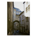 Side Street in Luxembourg Sepia Poster