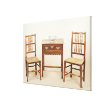 Side table and pair of spindle back chairs canvas print