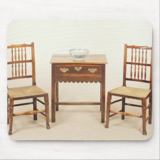 Side table and pair of spindle back chairs mouse pad