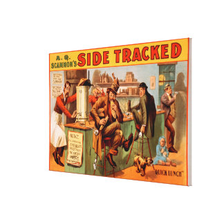 Side Tracked - Comical Caf� Scene Theatre Gallery Wrapped Canvas