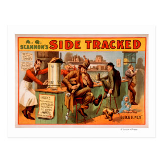 Side Tracked - Comical Caf� Scene Theatre Postcard
