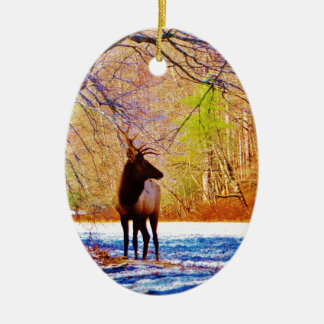 Side view Bull elk in Snow Double-Sided Oval Ceramic Christmas Ornament