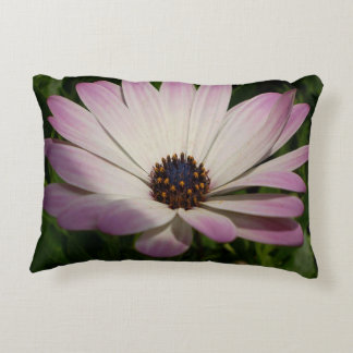 Side View of A Pink and White Osteospermum Decorative Pillow